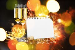New year`s eve. New year`s day champagne party celebration calendar confetti Royalty Free Stock Image