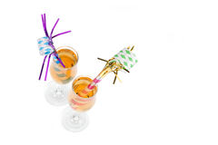 New Year's Eve Noisemakers in Champagne Stock Photos
