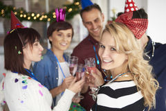 New Year's eve at the office Royalty Free Stock Photo