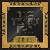 New year`s eve party invitation 2019 art deco style. Elegant wooden golden card greeting image celebration retro vintage stock illustration