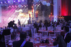 New Year's Eve Party at the Parliament Palace. Bucharest, Romania, 31 December 2015: New Year's Eve Party at the Parliament Palace known also as People's House stock image