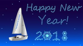 On New Year`s Eve the sailboat sails to the success. Very beautiful picture of the New Year`s Eve with a snowing snow, snowflakes, forming the words of Stock Photos