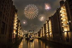 New Year's eve in Speicherstadt Royalty Free Stock Image