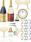 New Year's Eve Supplies. Several items for party or wedding promotions or greeting cards. New Year's Eve, weddings, birthdays, anniversaries, and engagements Stock Images