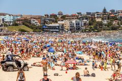 Busy Bondi Beach at New Year`s Eve