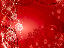 New Year's festive background with balls. Red New Year's festive background with balls and snowflakes Stock Image