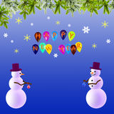 New Year's festive background with snowmen. Balloons and branches Stock Image