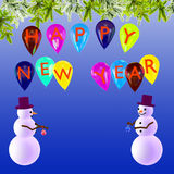 New Year's festive background with snowmen Stock Images