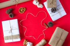 New Year`s festive flat lay on a red background royalty free stock image