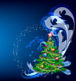 New year's fir tree. With abstract element on turn blue background Royalty Free Stock Images