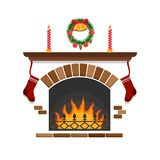 New Year`s fireplace, Christmas decoration. New Year`s fireplace, decoration for Christmas Royalty Free Stock Photo