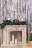 New Year's fireplace in an interior Royalty Free Stock Images