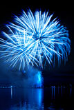 New year`s  firework. New years celebratory bright firework in a night sky Royalty Free Stock Photos