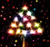 New Year's fireworks from the bottle. Christmas background with Christmas tree Stock Image