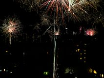 New year`s fireworks on the city Royalty Free Stock Photography