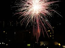New year`s fireworks on the city Stock Photos
