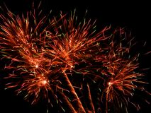 New Year`s fireworks full of glitter. Fireworks full of color and love Stock Image