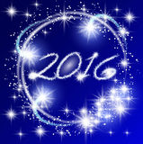 New Year's fireworks. Glowing blue background with sparkle stars round frame. New Year's fireworks Stock Photos