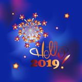 New Year`s fireworks. Hello, 2019!. Design to design banner, poster, greeting cards royalty free illustration