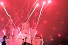 New Year`s fireworks on the main square of the capital of Finland Helsinki. royalty free stock photo