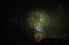 New Year`s fireworks.2019.More colors in one fireworks. Happy New Year stock photography