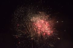 New Year's fireworks. Over dark sky Royalty Free Stock Photo