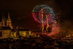 New Year`s fireworks in Prague royalty free stock photography
