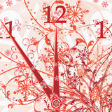 New year's floral clock background, vector stock illustration