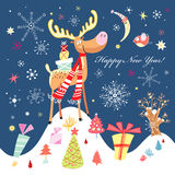 New Year's funny moose Royalty Free Stock Images