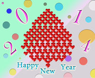 New Year's fur-tree made from red hearts Royalty Free Stock Photography