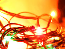 New Year's garlands in the dark. Very beautiful multi-coloured New Year's garlands in the dark Royalty Free Stock Image