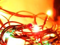 New Year's garlands in the dark. Very beautiful multi-coloured New Year's garlands in the dark royalty free stock image