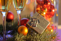 New Year's gift. And holiday decor Royalty Free Stock Photos