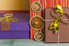 New Year's gift box decoration Royalty Free Stock Image
