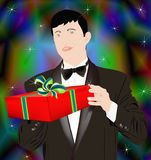 New Year's gift from the elegant man Stock Photo