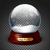 Transparent sphere with and snow. Highly realistic illustration. Stock Photography