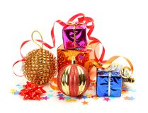 New Year S Gifts And Ornaments Royalty Free Stock Photo