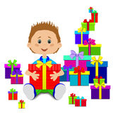 New Year`s gifts and child Royalty Free Stock Image