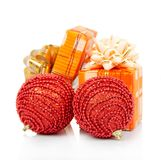 New Year's gifts and red balls Royalty Free Stock Images