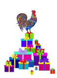 New Year`s gifts and  the rooster. For design Royalty Free Stock Image
