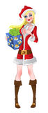 New Year's girl with gift stock images