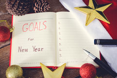 New Year's goals with colorful decorations. New Year's goals are resolutions or promises that people make for the New Year to make their upcoming year better Stock Images