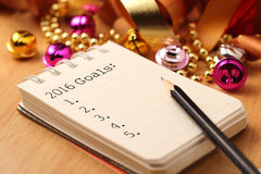 2016 New year's goals. New Year's goals with colorful decorations. New Year's goals are resolutions or promises that people make for the New Year to make their royalty free stock image