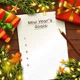 New Year`s goals concept background. Top view. Vector. New Year`s goals concept background with paper sheet. Wooden table decorated with gift box, Christmas stock illustration