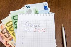 New Year's goals are resolutions with euro Royalty Free Stock Image