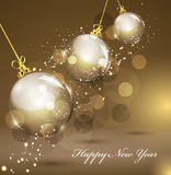New Year's gold background with gold balls Royalty Free Stock Photography