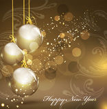 New Year's gold background with gold balls Royalty Free Stock Images