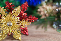 New Year's gold and red snowflake on Stock Images