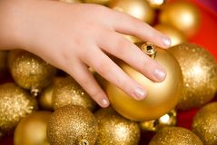 New Year's gold spheres Stock Photo