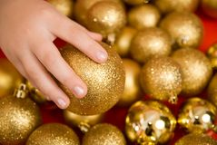 New Year's gold spheres Royalty Free Stock Photos